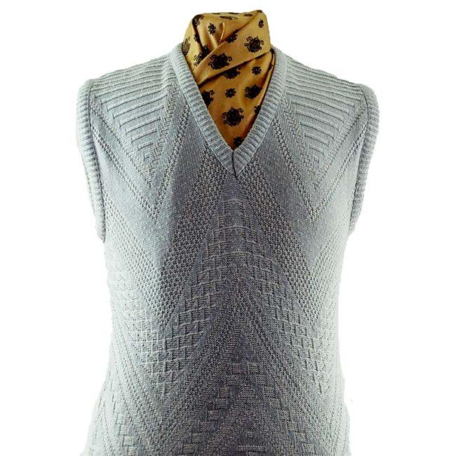 close up of 70s Crochet Knit Vest