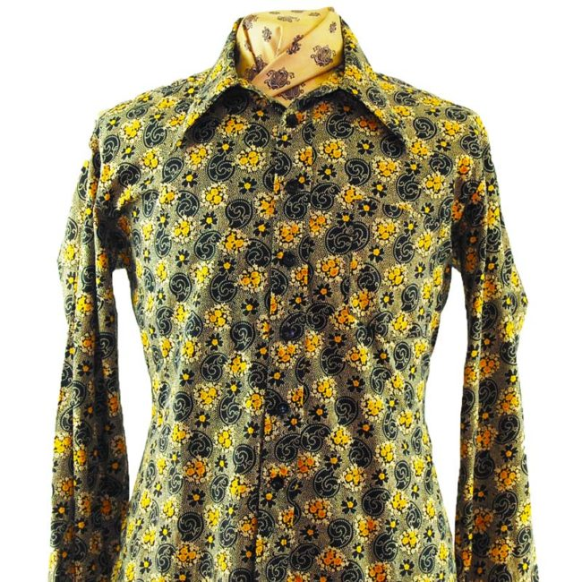 close up of 70s Dark Paisley Inspired Shirt