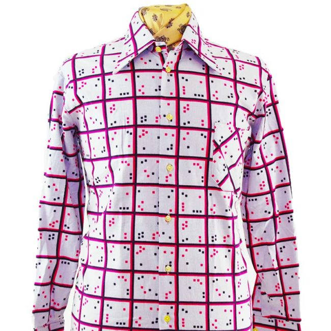 close up of 70s Digital Checker Print Shirt