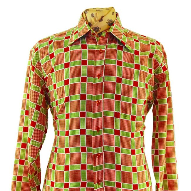 close up of 70s Green And Red Checked Shirt