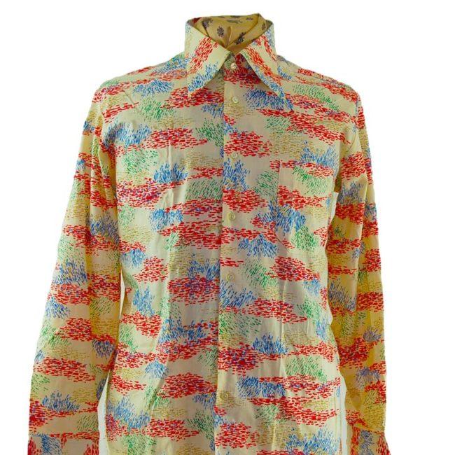 close up of 70s Mens Abstract Colour Slash Shirt