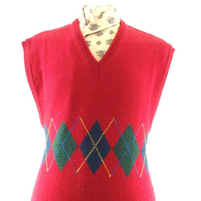 close up of 70s Red Argyll Pattern Vest