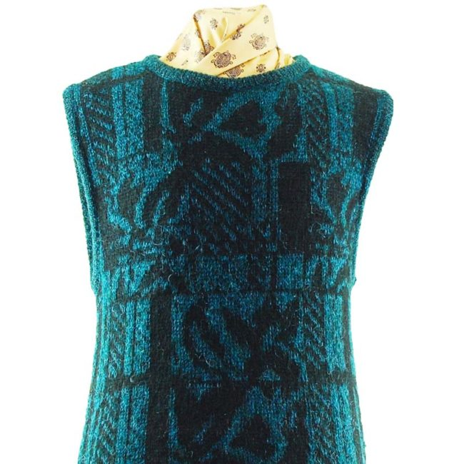 close up of 70s Turquoise And Black Glitter Vest