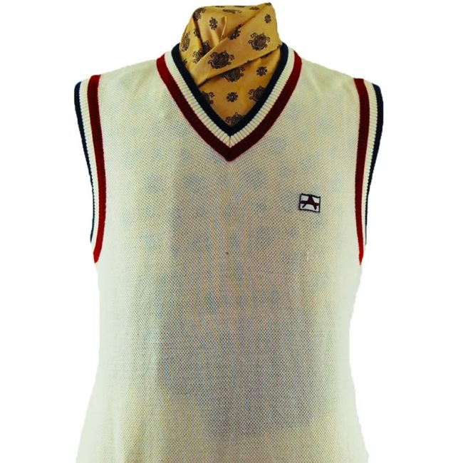 close up of 70s White Vintage Sports Vest