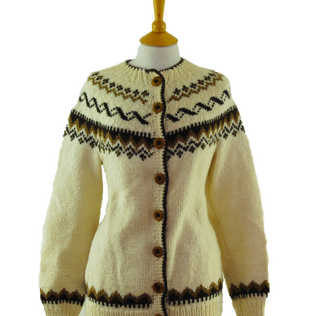 close up of 80s Brown And Cream Cardigan