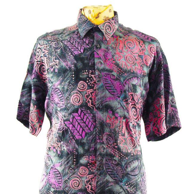 close up of 80s Dark Geometric Silk Shirt