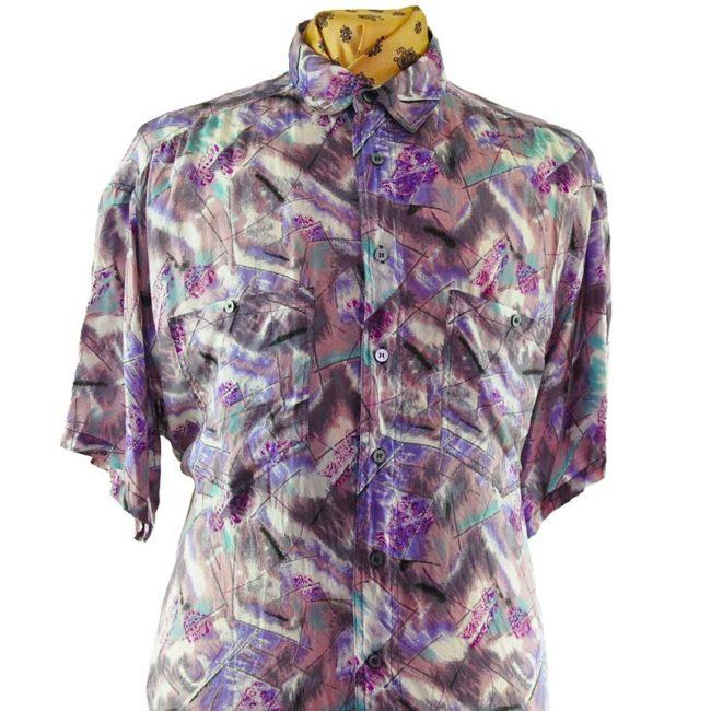 close up of 80s Lilac Vintage Silk Shirt