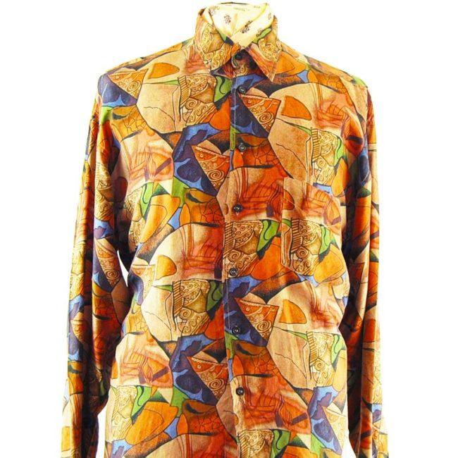 close up of 80s Mens Dark Grungy Silk Shirt