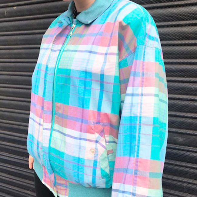 close up of 80s Multicolored Tartan Bomber Jacket