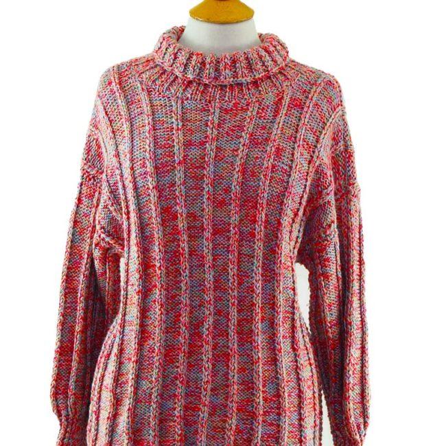 close up of 80s Multicolored Turtleneck Sweater