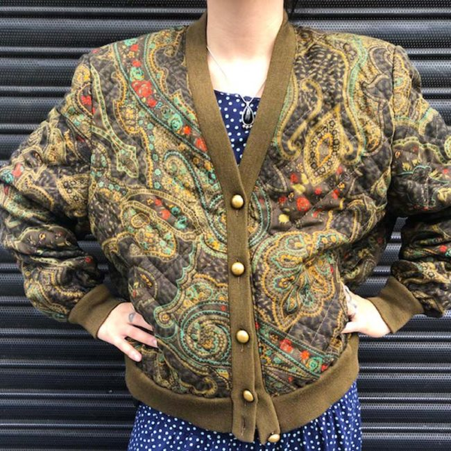 close up of 80s Paisley Vintage Bomber Jacket