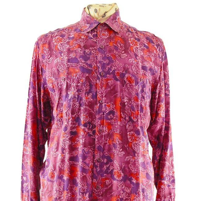 close up of 80s Pink Vintage Silk Shirt