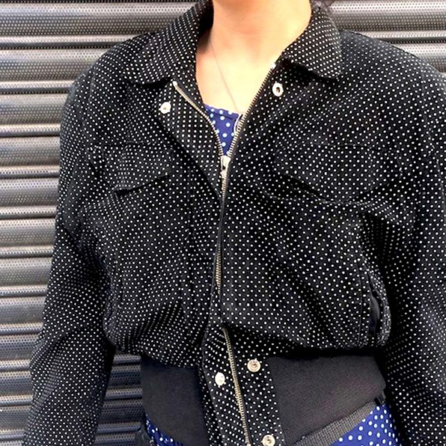 close up of 80s Thick Polka Dot Bomber Jacket