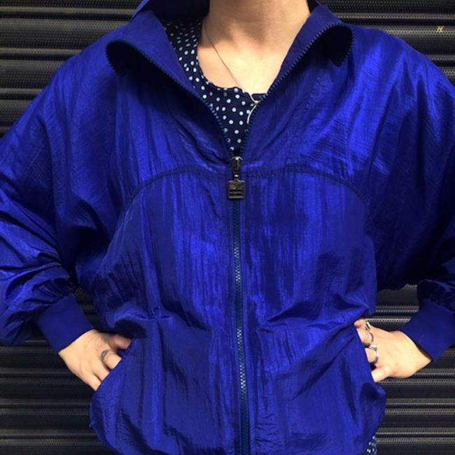 close up of 80s Waterproof Blue Sports Bomber Jacket