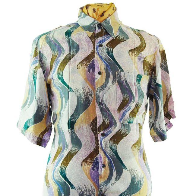 close up of 80s Wavy Pastel Silk Shirt