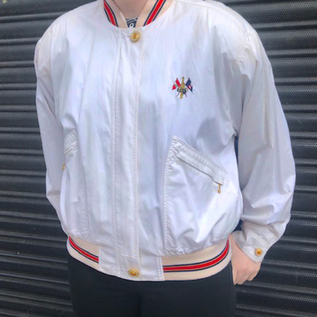 close up of 80s White RVC Bomber Jacket