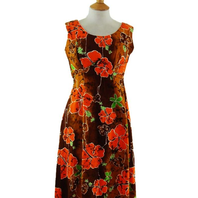 close up of 70s Authentic Hawaiian Summer Dress