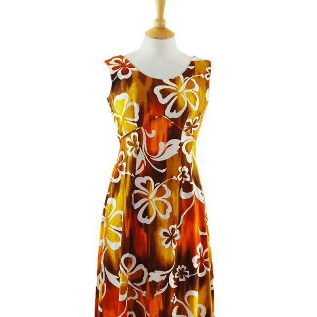 close up of Colour Burn Hawaiian Dress