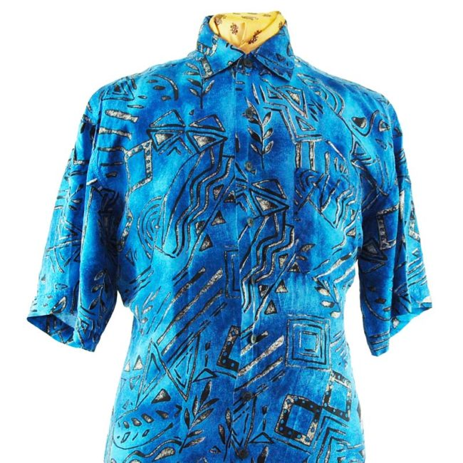 close up of 90s Blue Tribal Symbol Silk Shirt