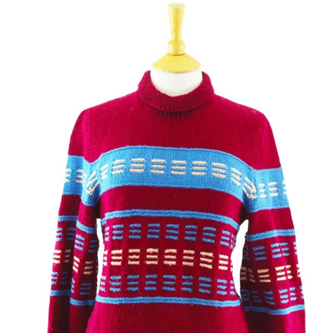 close up of 90s Colour Block Oversized Jumper
