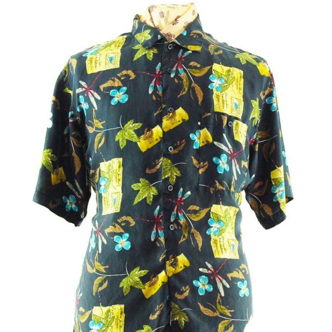 close up of 90s Dark Nature Silk Shirt