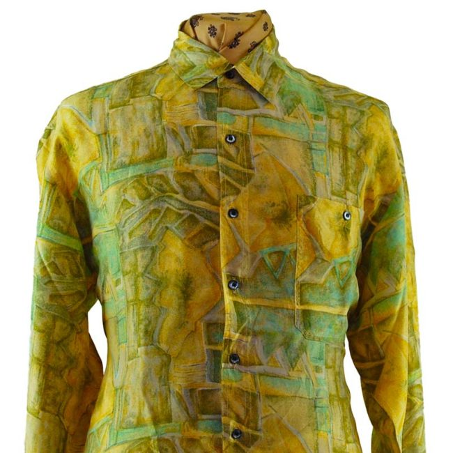 close up of 90s Green Abstract Landscape Silk Shirt