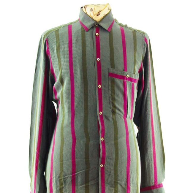 close up of 90s Grey Large Pinstripe Silk Shirt