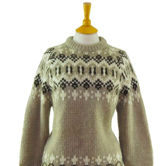 close up of 90s Greyscale Festive Winter Jumper