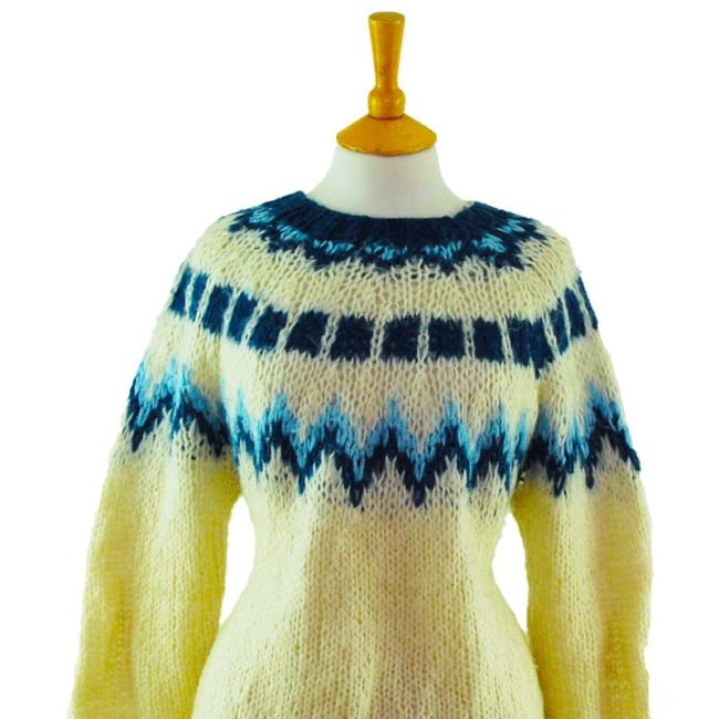 close up of 90s Large Knit Cream And Blue Jumper