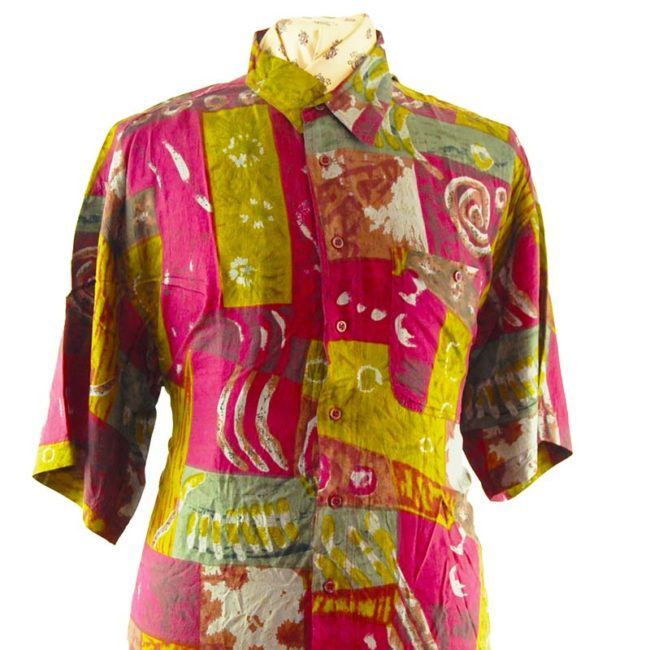 close up of 90s Paint Swirl Burgundy Silk Shirt