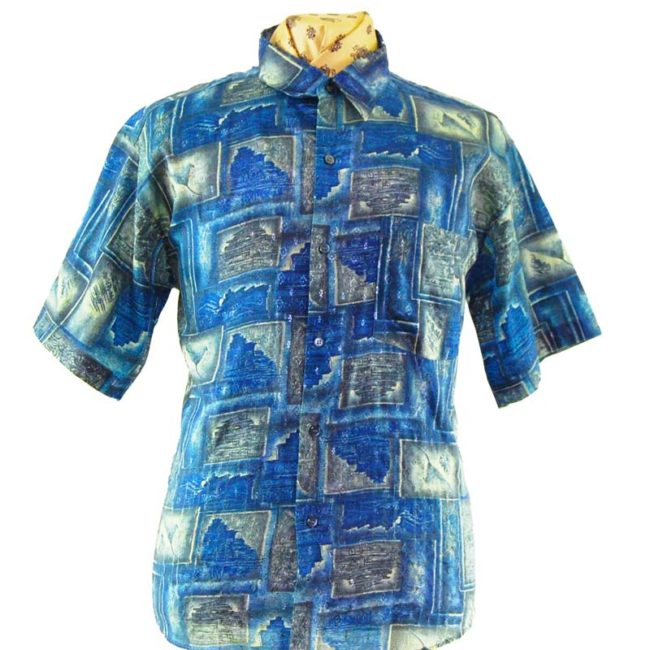 close up of 90s Random Picture Collage Silk Shirt
