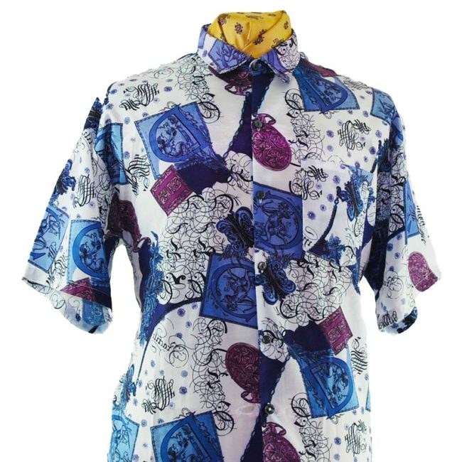 close up of 90s Renaissance Style Silk Shirt
