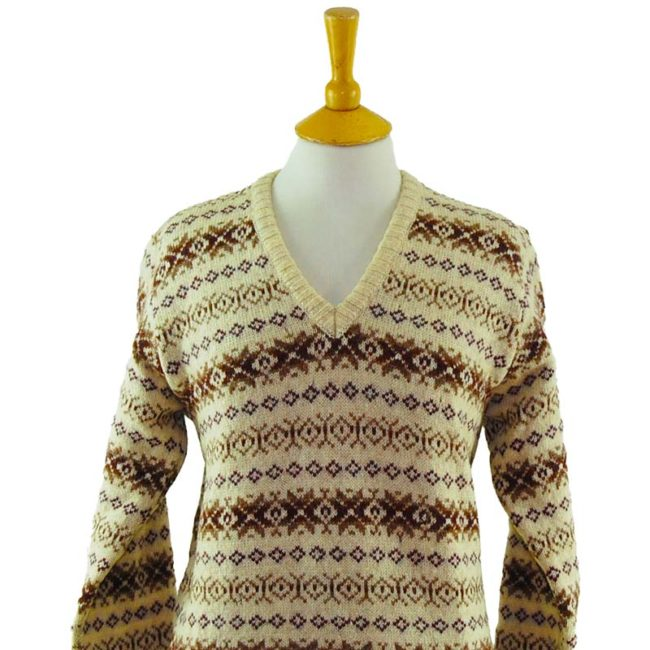 close up of 90s Scottish Pure Wool Jumper