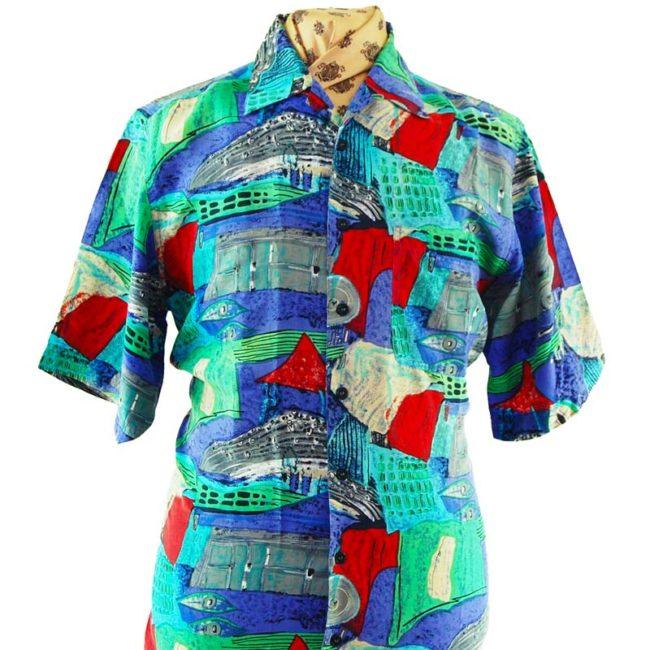 close up of 90s Seaside Landscape Silk Shirt