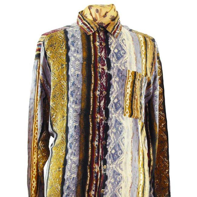 close up of 90s Vertical Multi-Pattern Silk Shirt