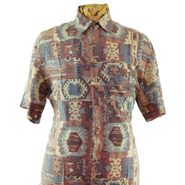 close up of 90s Watercolor Aztec Print Silk Shirt