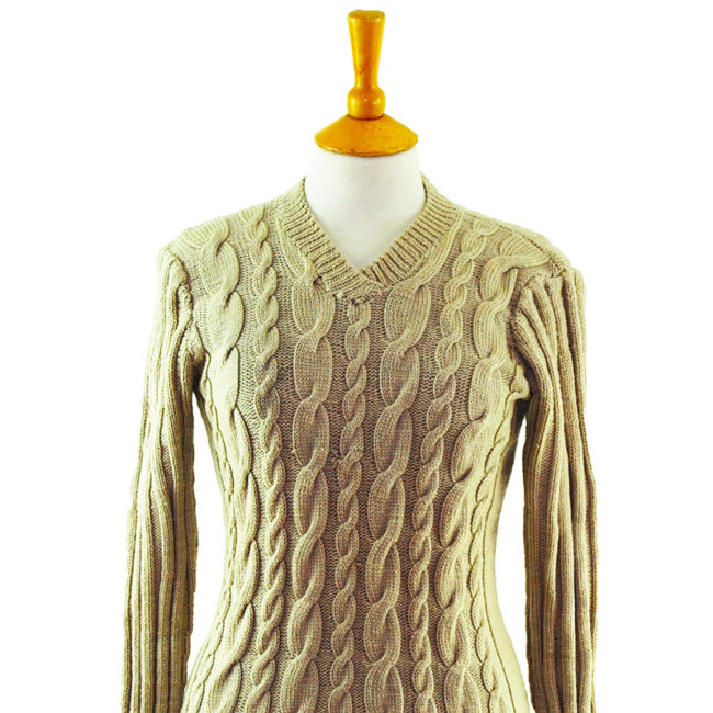close up of 90s Womens Slim Fit Beige Jumper