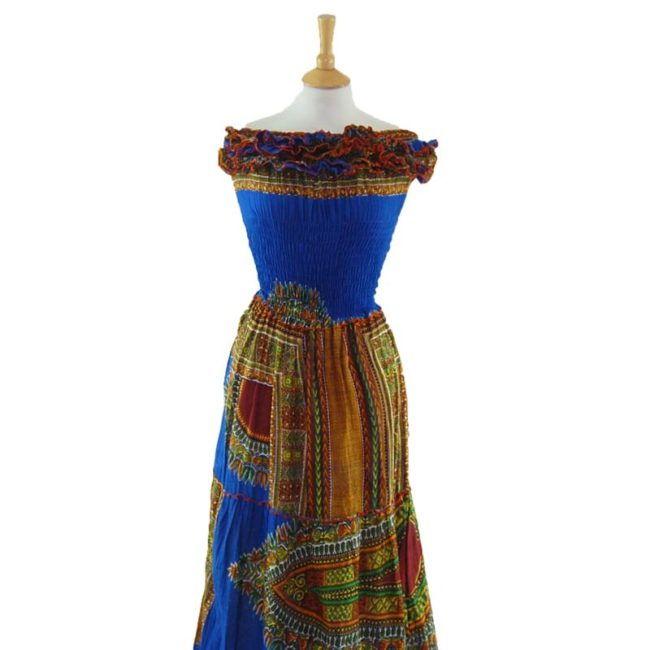 close up of Ethnic Bandeau Maxi Dress