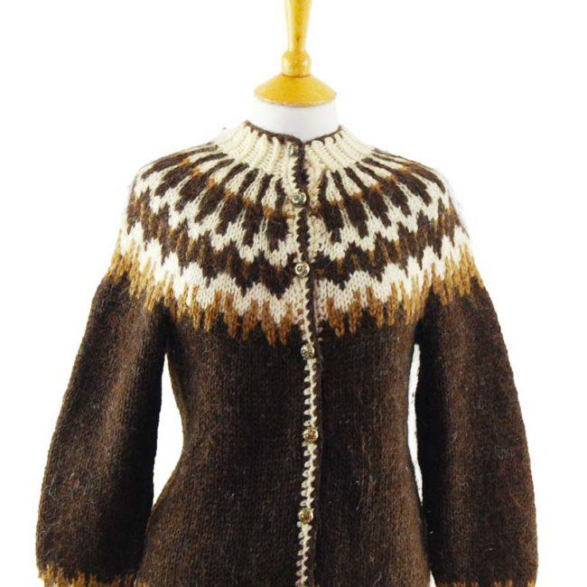close up of European Brown Pure Wool Cardigan