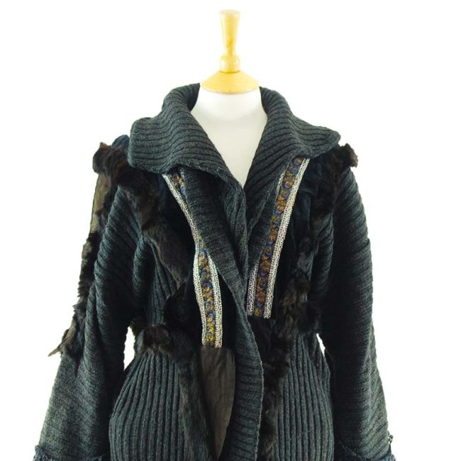 clse up of Ladies Rabbit Fur And Suede Cardigan