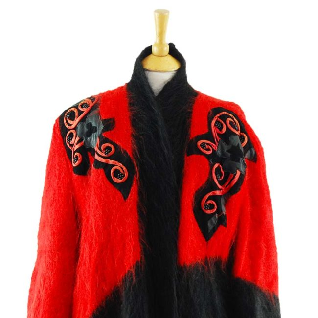 close up of Ladies Red And Black Mohair Cardigan