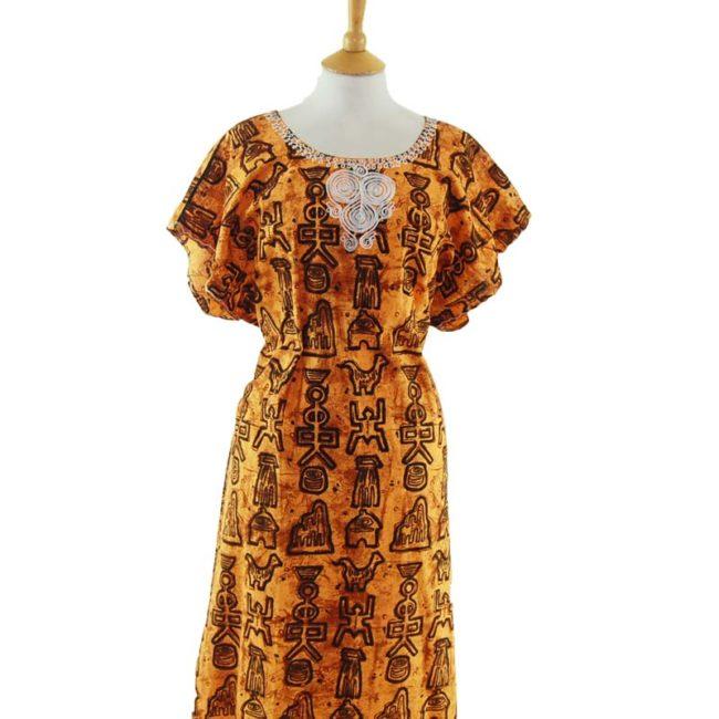 close up of Loose Fit Egyptian Print MuuMuu Dress
