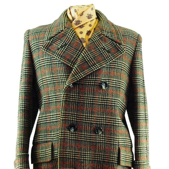 close up of Mens Double Breasted Checkered Pea Coat