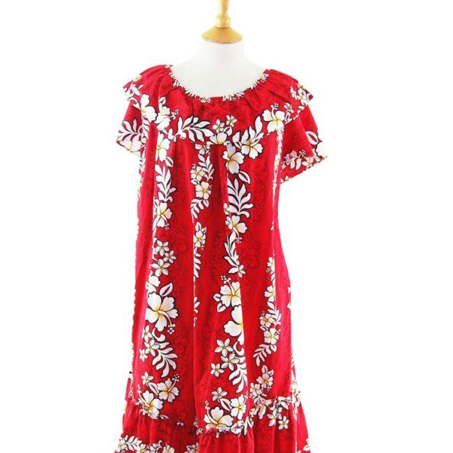 close up of Red Hawaiian Bandeau Vintage Dress