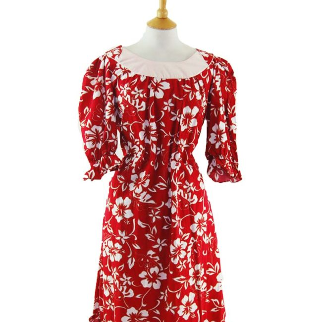 close up of Red Hawaiian Print MuuMuu Dress