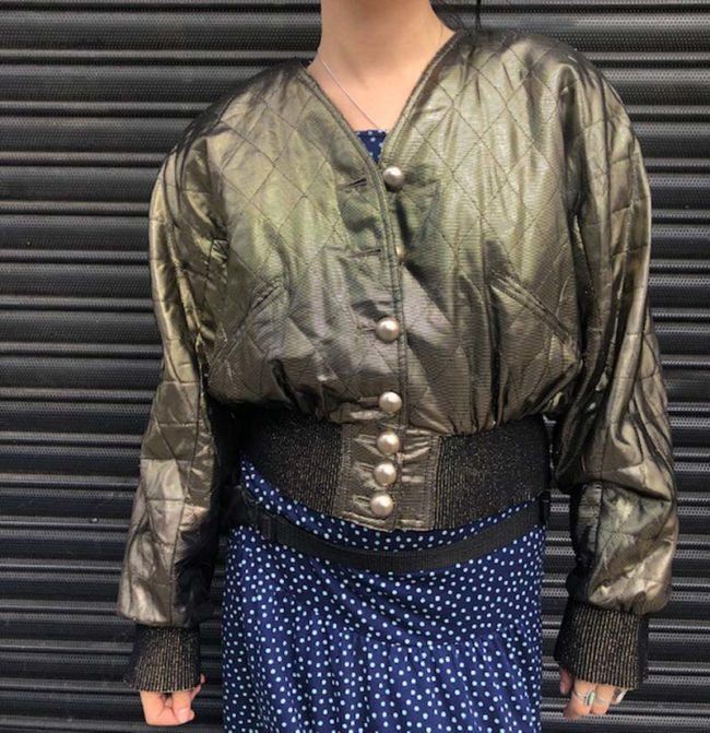 full length 80s Womens Gold Quilted Bomber Jacket