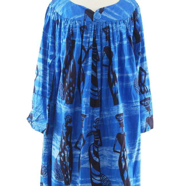 pattern of Blue African Print MuuMuu Dress