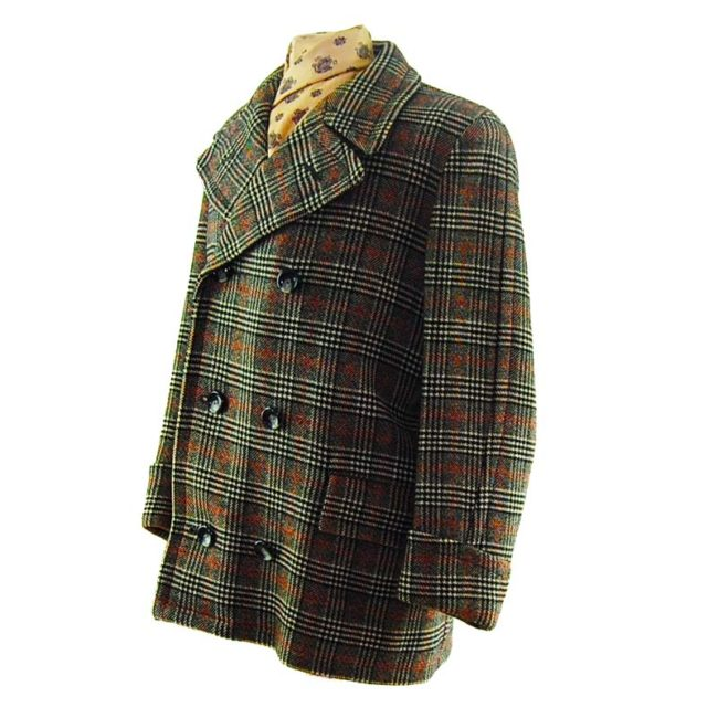 side of Mens Double Breasted Checkered Pea Coat