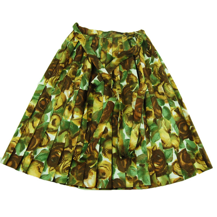 1950s Extremely Petite Brown And Green Skirt