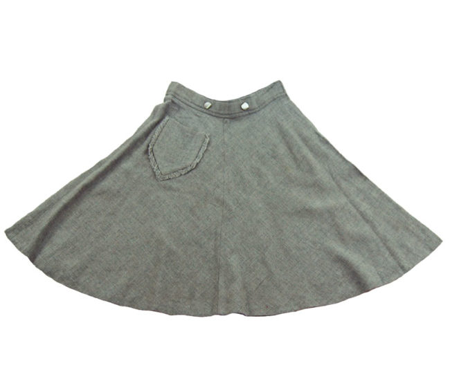 50s Vintage Grey Mini A-line Skirt